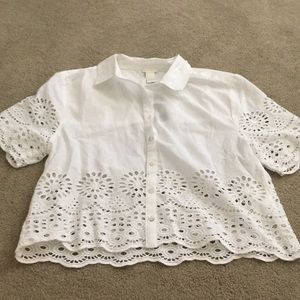 White Eyelet Forever 21 button up